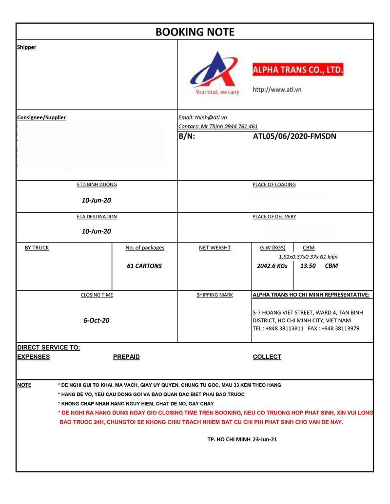 Xác nhận đặt chỗ trên các phương tiện vận tải (Booking confirmation)