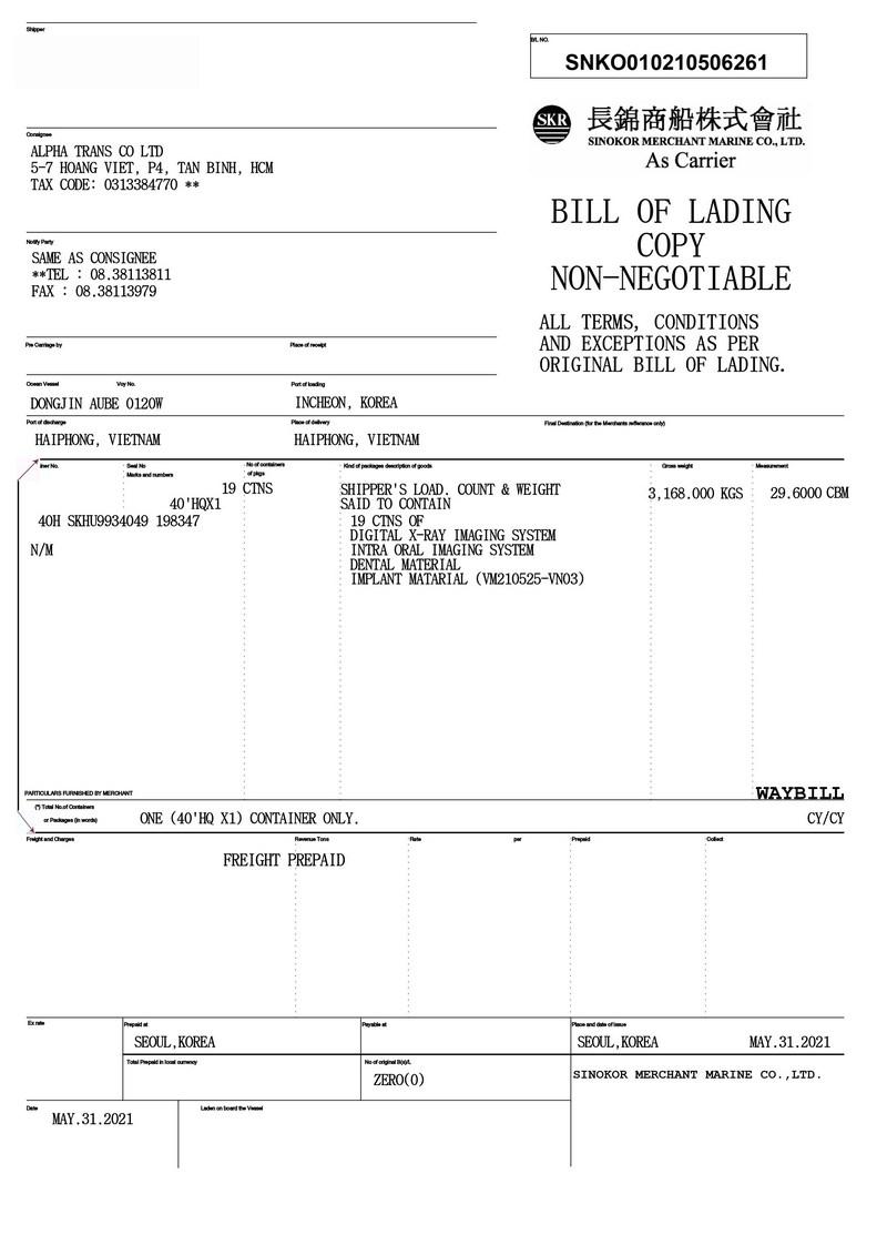 Mẫu Seaway Bill