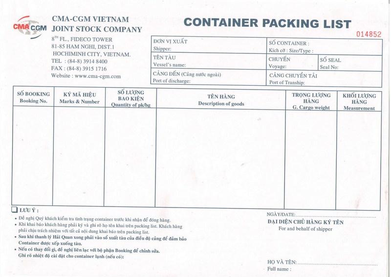 Packing List CMA