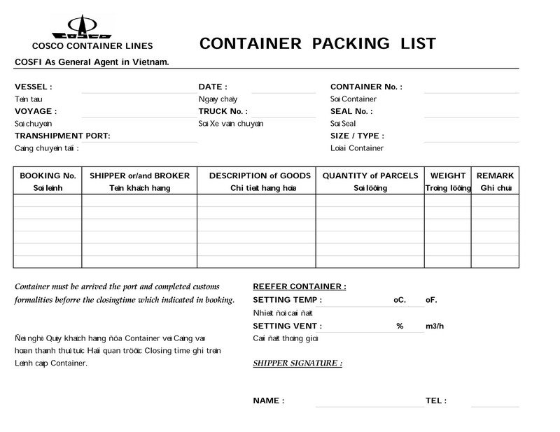 Packing List COSCO