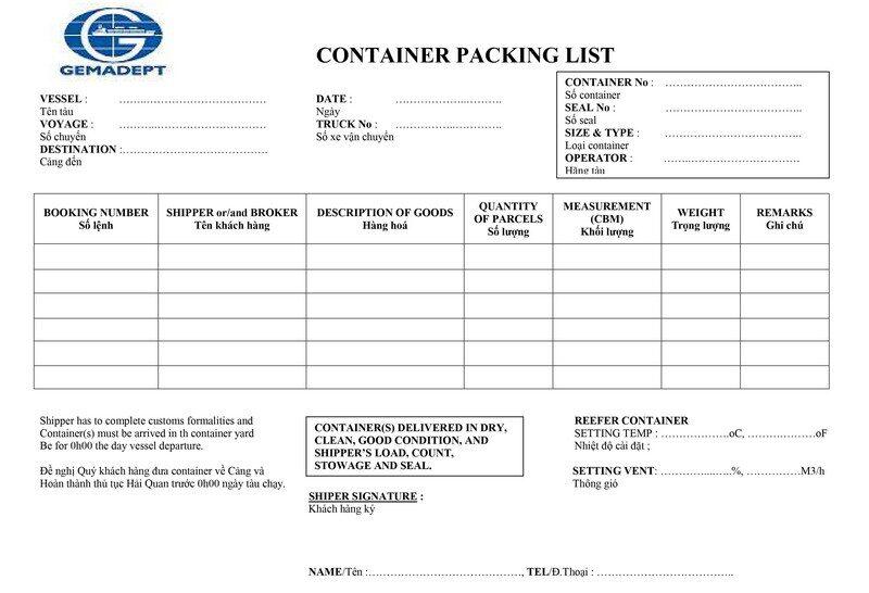 Packing List GEMADEPT