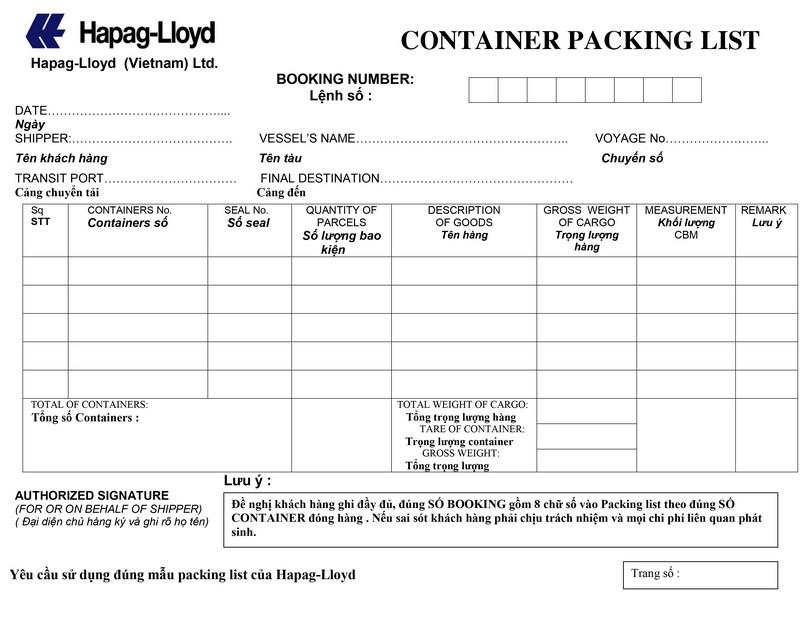 Packing List HAPAG-LLOYD