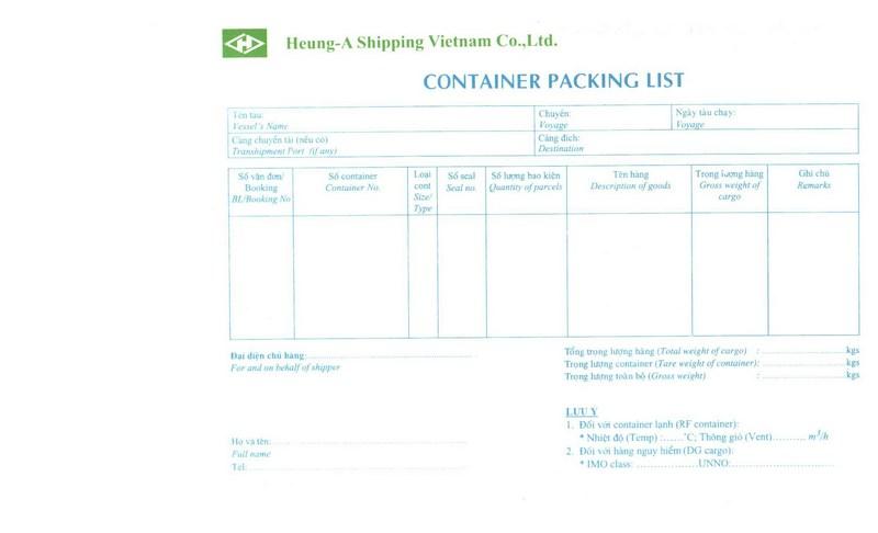Packing List HEUNG-A