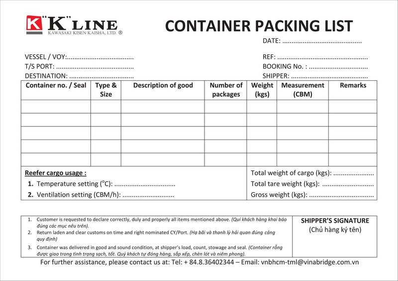 Packing List K'LINE