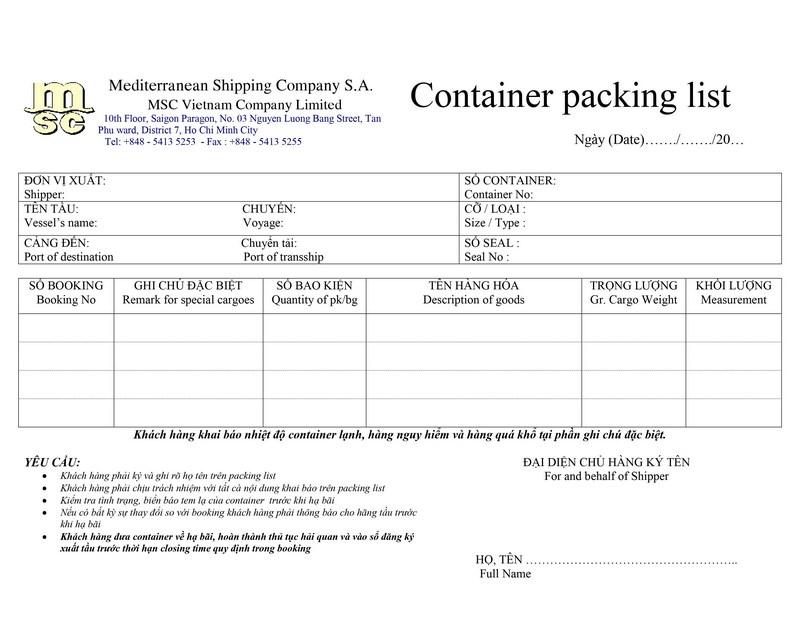 Packing List MSC