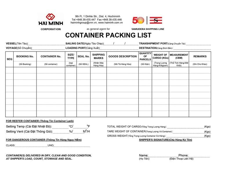 Packing List SAMUDERA