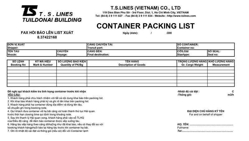 Packing List TS LINE