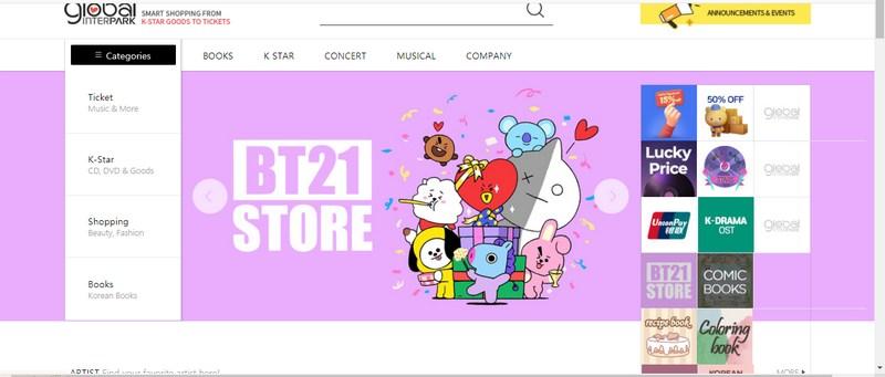 Web mua sắm sản phẩm Hàn Quốc Interpark.